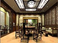 现代中式餐厅龙8国际pt老虎机效果图 (3)